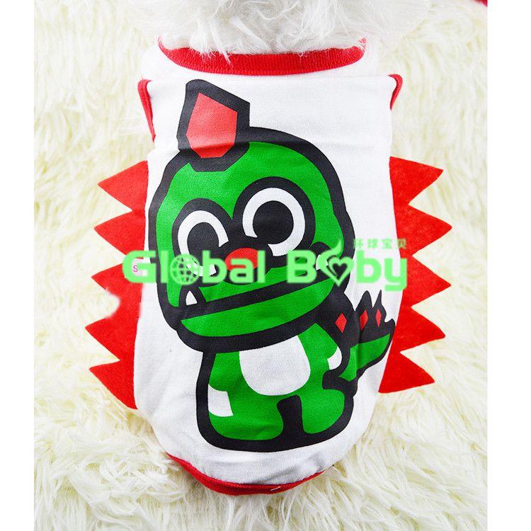(20 Pieces/Lot) Brand High Quality Cotton Dinosaur Styles Dog Pet Teddy Vest T Shirts