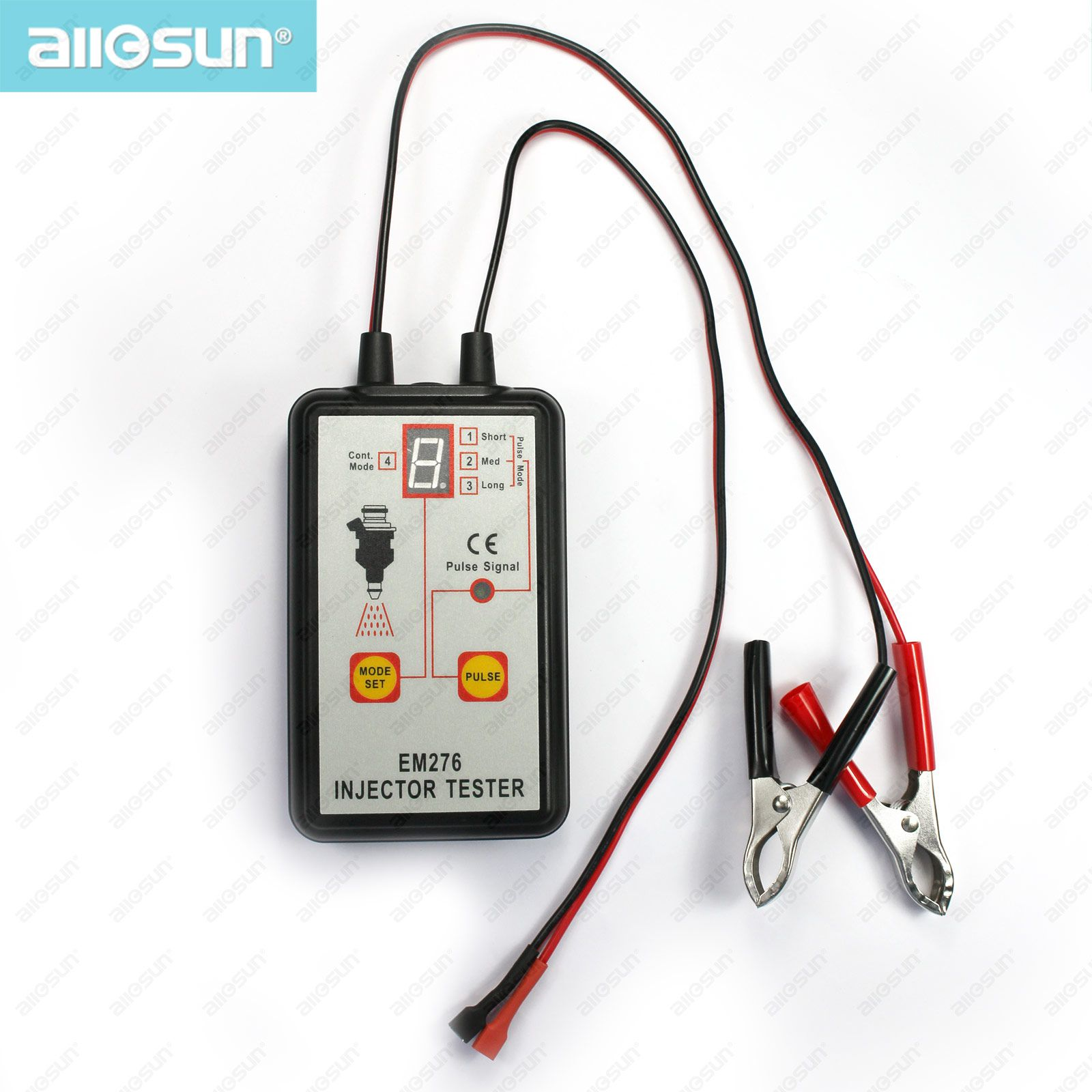 allsun Professional Fuel Injector Tester 4 pluse Modes Auto Injector Detector 12V Fuel System Tool Car Nozzle Tester Diagnosis Instrument
