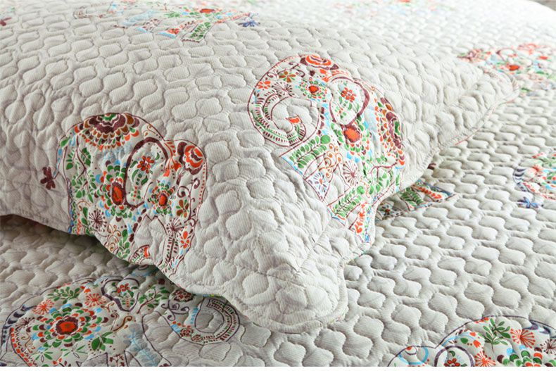 2018 SUPERIA 100%cotton elephant printed quiliting trhree-piece of bed cover