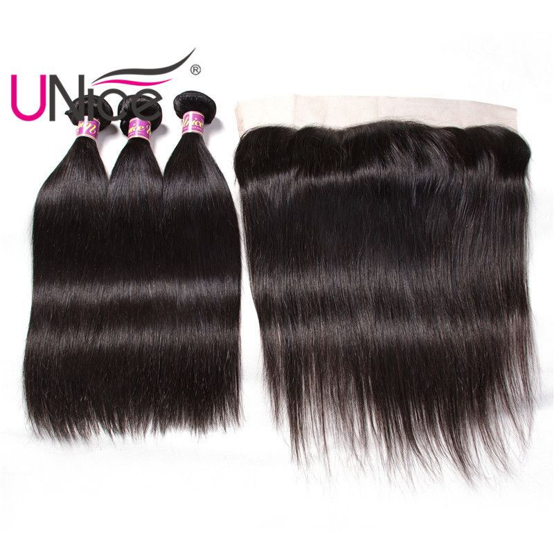 Unice Hair Indian Straight Human Hair Bundles With Lace Frontal