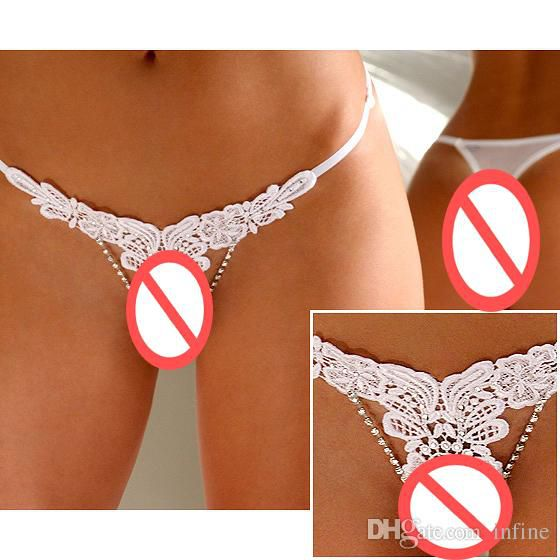 New Wholesale Retail Lady Gorgeous Lace panty Crystal Lingerie Lady Women's Sexy panty g string thong underwear Evening White Panty Boyshort