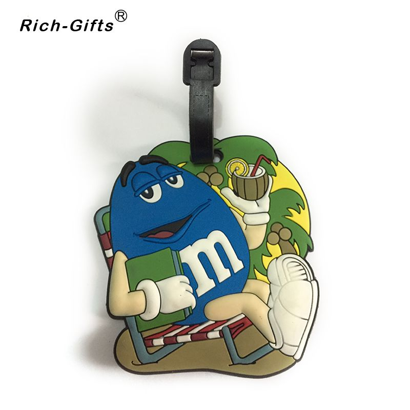 Customized M LOGO Promotion Souvenir Gifts Eco- Friendly PVC soft rubber Traver Luggage Name Bag Tags(RL-086)