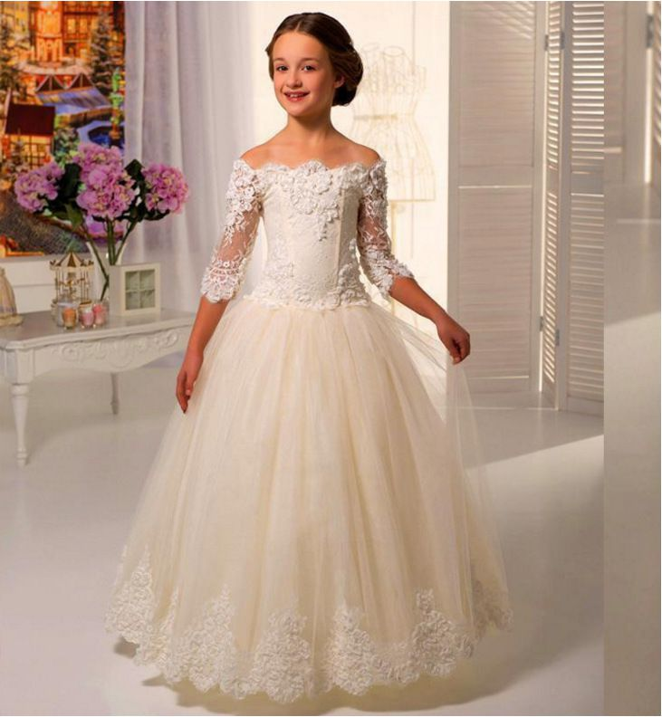 Charming Applique Tulle Three Quarter Sleeves Flower Girl Dress For Weddings Girls First Communion Dress Gowns A Line Prom Dress