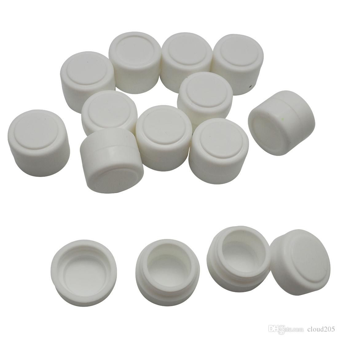 200 pieces/ lot wholesale the mini round Non-stick Silicone Container For Wax Bho Oil Butane Vaporizer Silicon Jars Dab Wax Container 2 ml