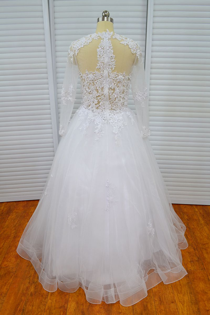Elegant Vinoprom Long Sleeve Scoop Zipper Up Tulle Lace Ball Gown Wedding Gown Dress
