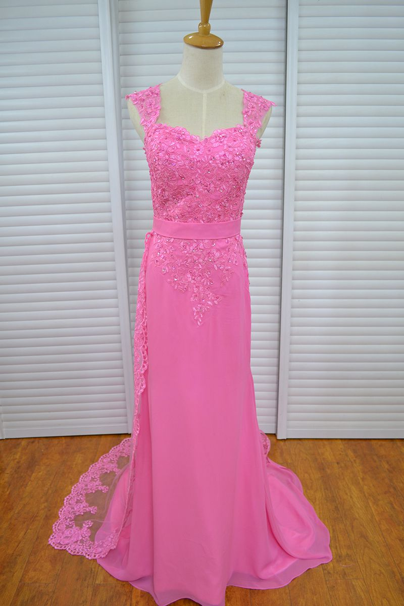 Real Photo Vinoprom Cap Sleeves Fuchsia Sweep Train Beaded Sequied Formal Prom Evening Dresses