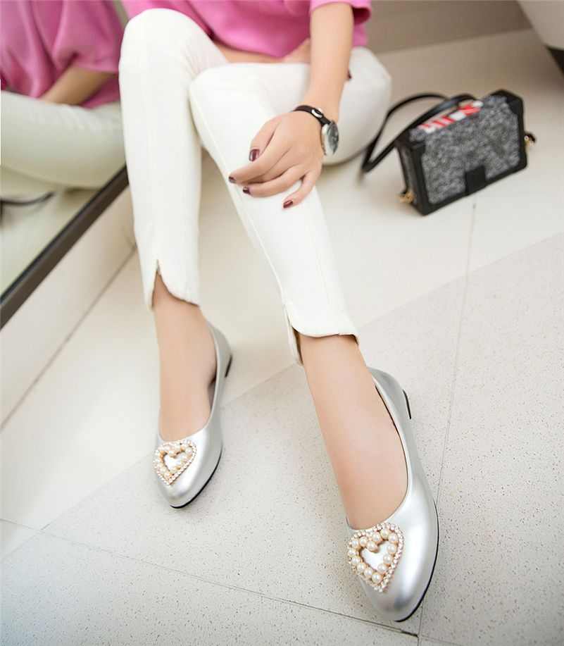 Casual Women Flats Low Heel Ballet Patent Leather Heart Rhinstone Pearl Spring Summer Autumn Office Sweet Red Boat Ladies Shoes17-6