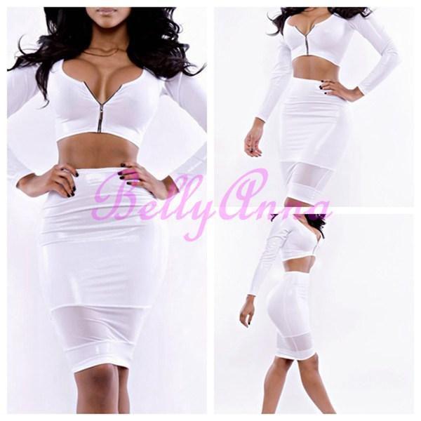 New Women Deep V Neck Zipper Crop Bralet Belly Top High Waist Mesh Club Bodycon Pencil Midi Bandage Party Dress 2piece Set