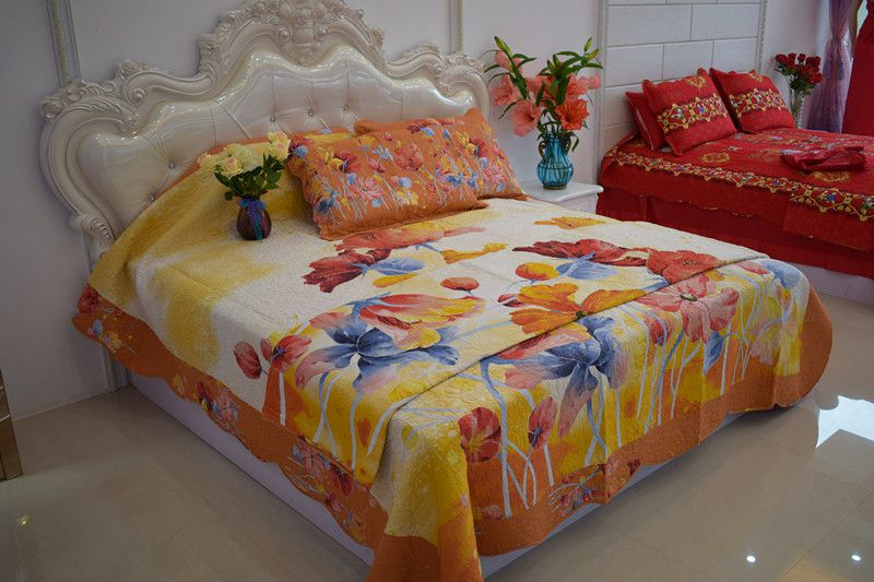 2018 new style organe 100%cotton pastoralism dye printed four-piece of bed cover