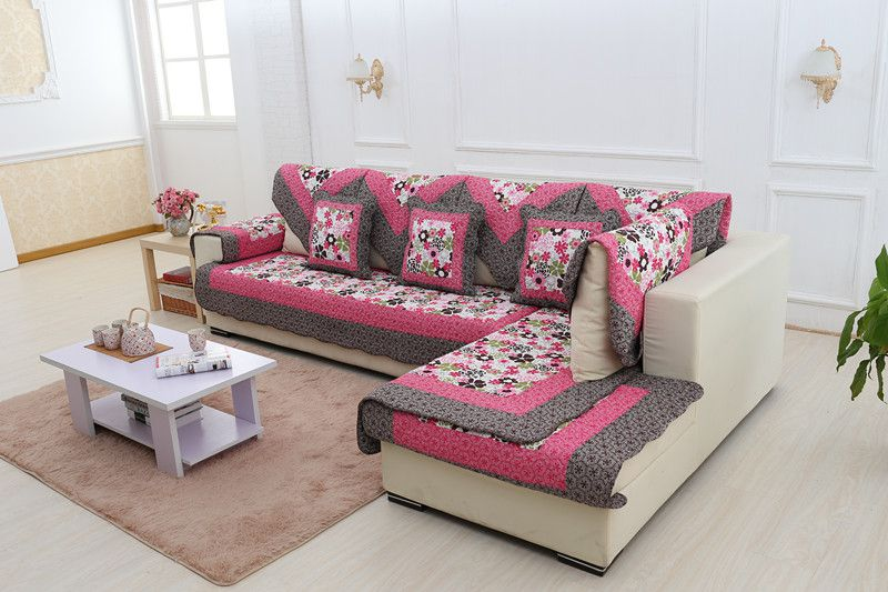 2018 new kind hot sale 100%cotton rose red for four seasons of sofa cover set bay window cushion