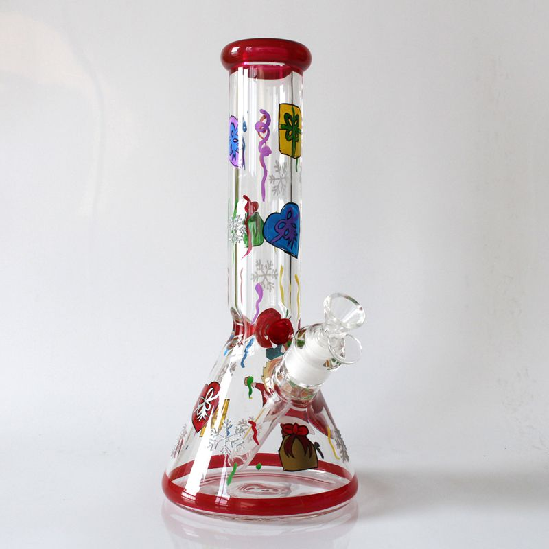 New Christmas glass bong beaker 7MM water pipe 12inchs water bong best gift free shipping by EMS
