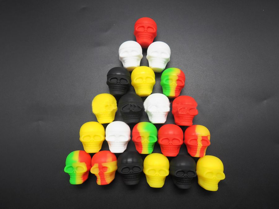 Assort Colors 15ML/3MLSkull Silicone Container Wax Dab Jar