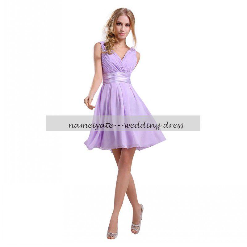 Purple Lilac Lavender Bridesmaid Dresses Chiffon Maid of Honor Sexy V-neck  Knee Length Bridesmaids Dresses ... 83515a859f15