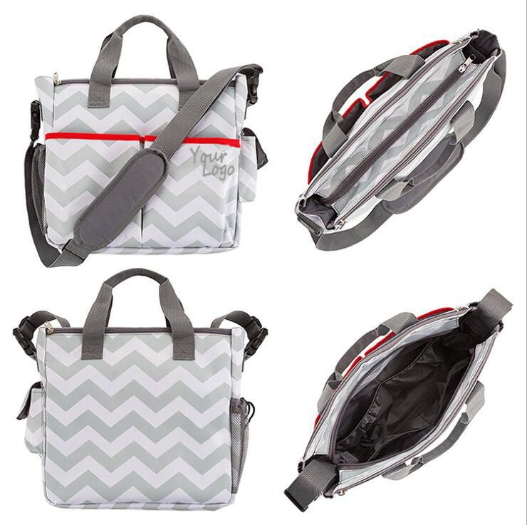3 in 1 Baby Diaper Bag for Compact Diaper Weekender Tote Bag Bottle Bag Changing Pad Stroller Straps Premium Unisex chevron gray