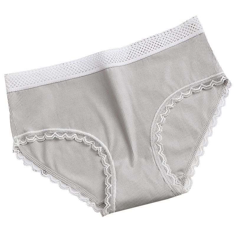 Good Quality Women's Underwear Japanese Style Striped Solid Color Cotton Cute Brief Panties Med Waist With Lace Edge