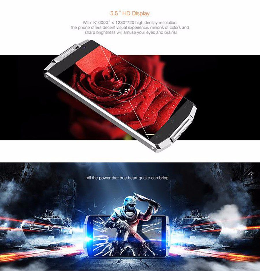 Original OUKITEL K10000 5.5 inch HD 4G LTE Android 5.1 2GB 16GB MTK6735 Quad Core Cell Phone 10000mAh Battery