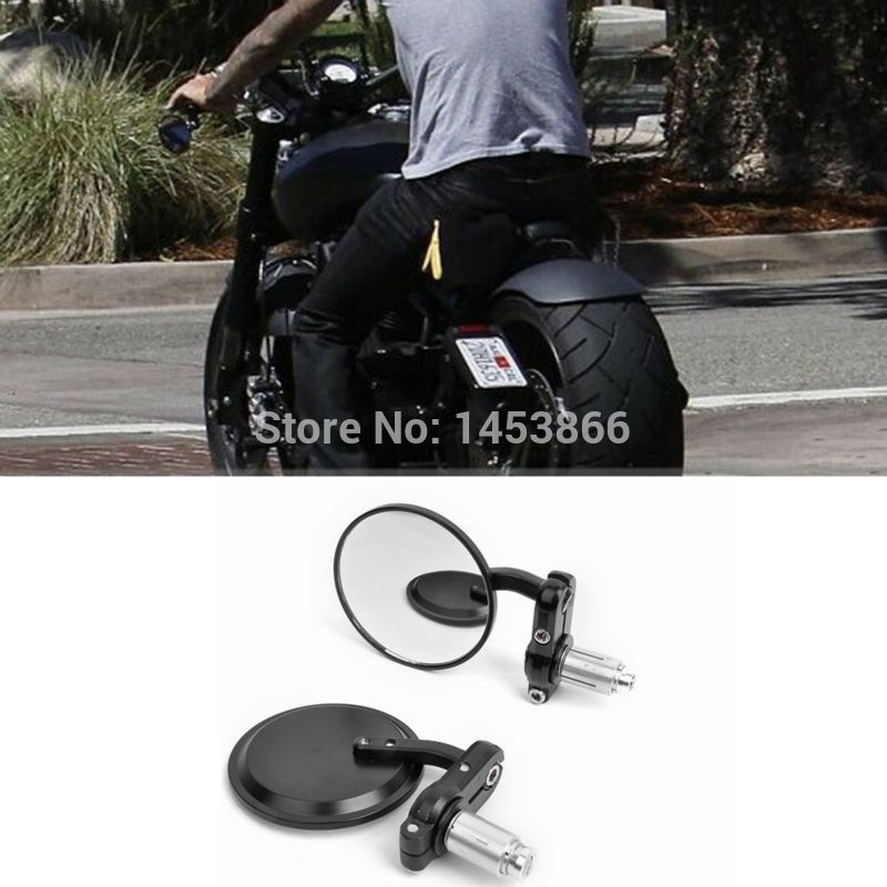 "MOTORCYCLE BLACK 3"" ROUND 7/8"" HANDLE BAR END MIRRORS CAFE RACER BOBBER CLUBMAN order<$18no track"