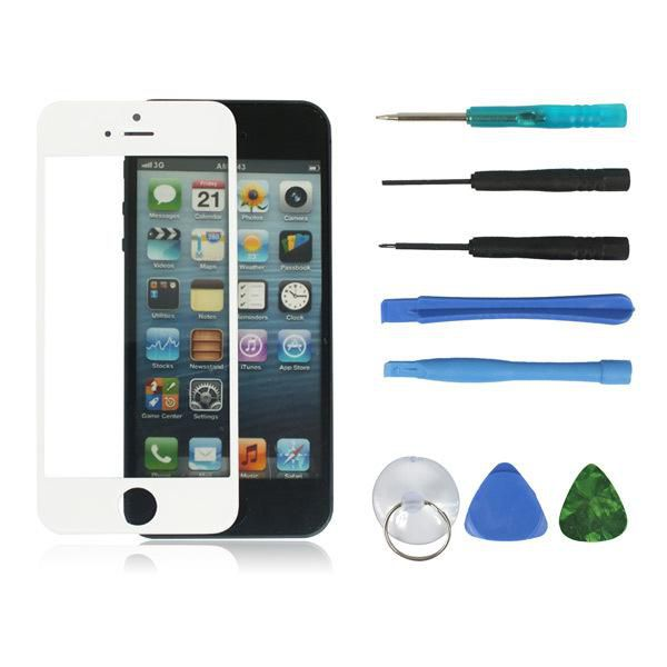 White Front Outer LCD Touch Screen Digitizer Glass Lens Part Replacement for Apple iPhone 5 5G +8 in 1 Opening Set Repair Tool