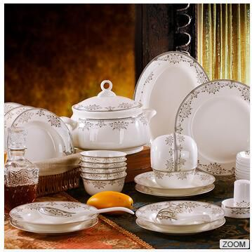 Luxurious 56pcs royal wholesale silver plated porcelain tableware