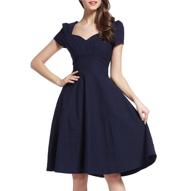 New Women Vintage Dresses Solid Cocktail Party Puffy Sleeve A-Line Swing Dress Square Collar Knee-Length Cocktail Retro Style Navy Dress