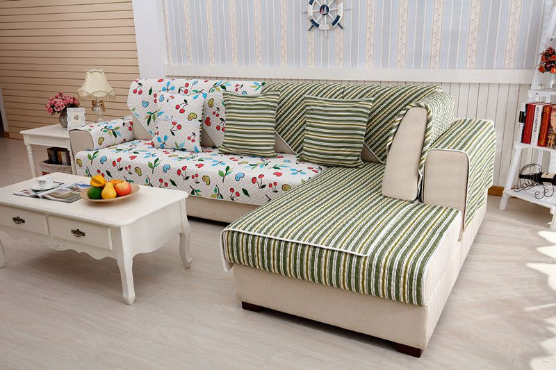 2018 new kind hot sale 100%cotton cherry doubleside quliting for four seasons of sectional sofa cover