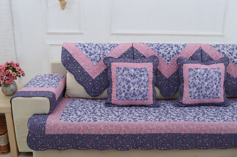 2018 hot sale new kind 100%cotton lavender for four seasons of sofa cover set