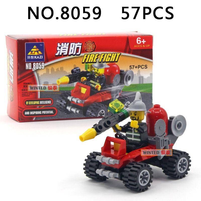 Building Blocks Cars Fire truck police car Mini Figure Toys Ninja figures crane Raytheon Reconnaissance car tank Excavator Assault car Racer
