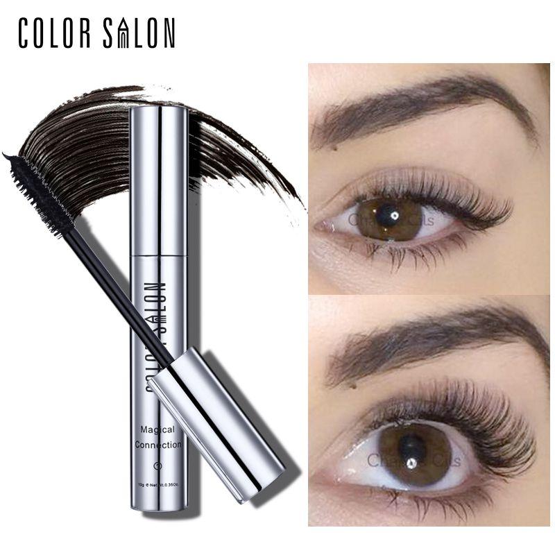 Color Salon 2pcs/set Black Mascara Waterproof Silk Fiber Volume Double Effect Long Lasting Lengthening Curling Eyes Makeup