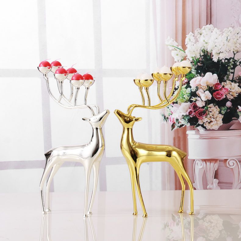 Luxurious Spotted Deer Candle Holders Alloy Candle Holders