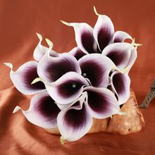 Artificial Flowers 9 pieces/lot Real Touch Calla Lily Bouquets for Bridal Wedding Bouquet Party Decoration Fake Flower