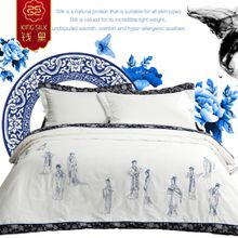new summer blanket 100% cotton retro china mulberry silk comforter include two pillowcase pure silk quilt embroidered bedding set