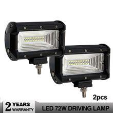 72w Led Work Light Bar 5 Inch 8000lm Flood 4wd Light Bar Truck 24v for Lada Niva 4x4 UAZ GAZ Running Led Strip Auto Accessories