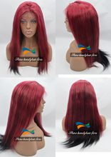 Wholesale Yaki Straight Brazilian Virgin Hair Glueless Lace Front Wigs Burgundy/#1 130% Density Yaki Straight Silk Top Full Lace Wig