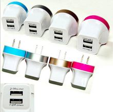 Metal US EU Plug 2A/1A Dual USB AC Power Travel Adapter Colorful Wall Charger 2 Ports For All Phones Samsung HTC LG