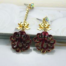 Free shipping fashionable woman in Europe and the accessories semi-precious stones gold bowknot party popular stud earrings