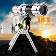 Mobile Phone Lenses 18x Telescope Camera Zoom Optical Cellphone telephoto Lens for iPhone Samsung Huawei With Mini Tripod