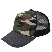 5 Panels Trucker Caps Hats Camouflage Camping Hat 100% Cotton Fitted Styles for Men Women(Grey/Camouflage/Black)