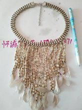 Bohemia series fringe short time Feather necklace