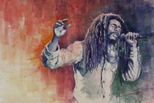 portrait canvas painting figure print watercolor masterpiece giant poster decor printing on canvas room singer figure Bob Marley