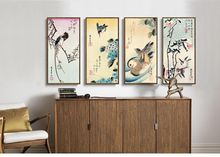 Scenery canvas painting landscape poster home decor art Japan 4 panels art Birds duckling flowers 4 seasons by Ando Hiroshige