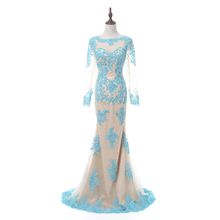 Real Photo Formal Long Sleeves Gown See Through Appliques Tulle Beaded Prom Handwork Prom Evening Dresses