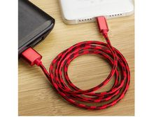 Nylon woven 1 meter high speed Android charger, USB miniature USB cable fast charger (red)