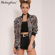 Hodisytian Autumn Fashion Women Jackets Casual Slim Sequins Short Bomber Coat Jaqueta Femme Ladies Outerwear Casaco Colorful