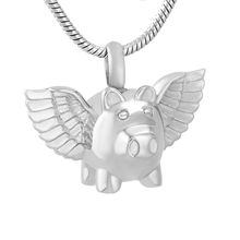 IJD9732 Flying Pig 316L Stainless Steel Cremation Pendant Necklace Funeral Ashes Keepsake Urn Memory Necklace