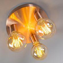 Design modern ceiling lamp lamp light Facil 3 burner copper metal round cylinder led suitable E27 max. 3 x 60 watt Ø25CM, copper