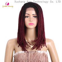 Box Braid Bob Wig with Baby Hair Braided Synthetic Lace Front Wigs for Black Women