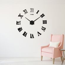 Wholesale-2017 muhsein New Wall Clocks 3d morden Large Diy Acrylic Mirror Stickers Wall Clock Home Decoration Living Room