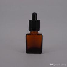 Flat square eliquid glass dropper bottle wholesale rectangular amber essential oil glass bottle 15ml 30ml beard oil bottle wholesale
