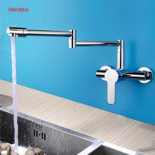 Factory Direct Sales Contemporary Brass Folding Kitchen Faucet Wall Mounted Sink Mixer Tap Single handle Single Hole Hot and Cold Water