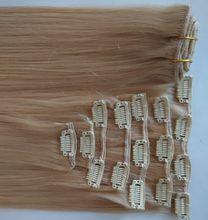 Unprocessed Clip In/On Hair Extension Brazilian Peruvian human hair 7A top quality 90g/set 12-26inch cheap Mongolian Malaysian Indian hair
